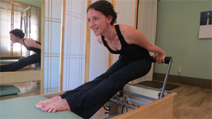 Martina using the Pilates Reformer